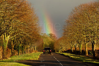 Car Driving Towards Rainbow on a Golden Sunlit Road