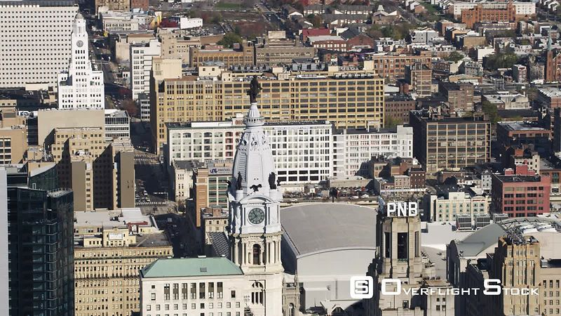 Orbiting Aerial View of Philadelphia City Hall Tower.