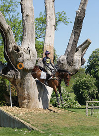 Competitor jumps the Catapult, Brigstock International Horse Trials