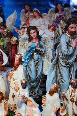 Mary, Joseph and wise men figures for nativity scenes for sale in Christmas market, Bolivia