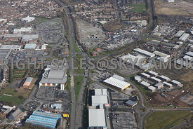 Widnes high level aerial photograph looking down  Ashley Way and the retail parks either side of Ashley Way