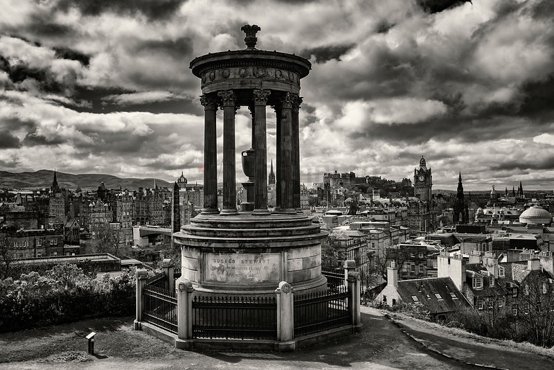 Elevated View of the Old City of Edinburgh from Calton Hill