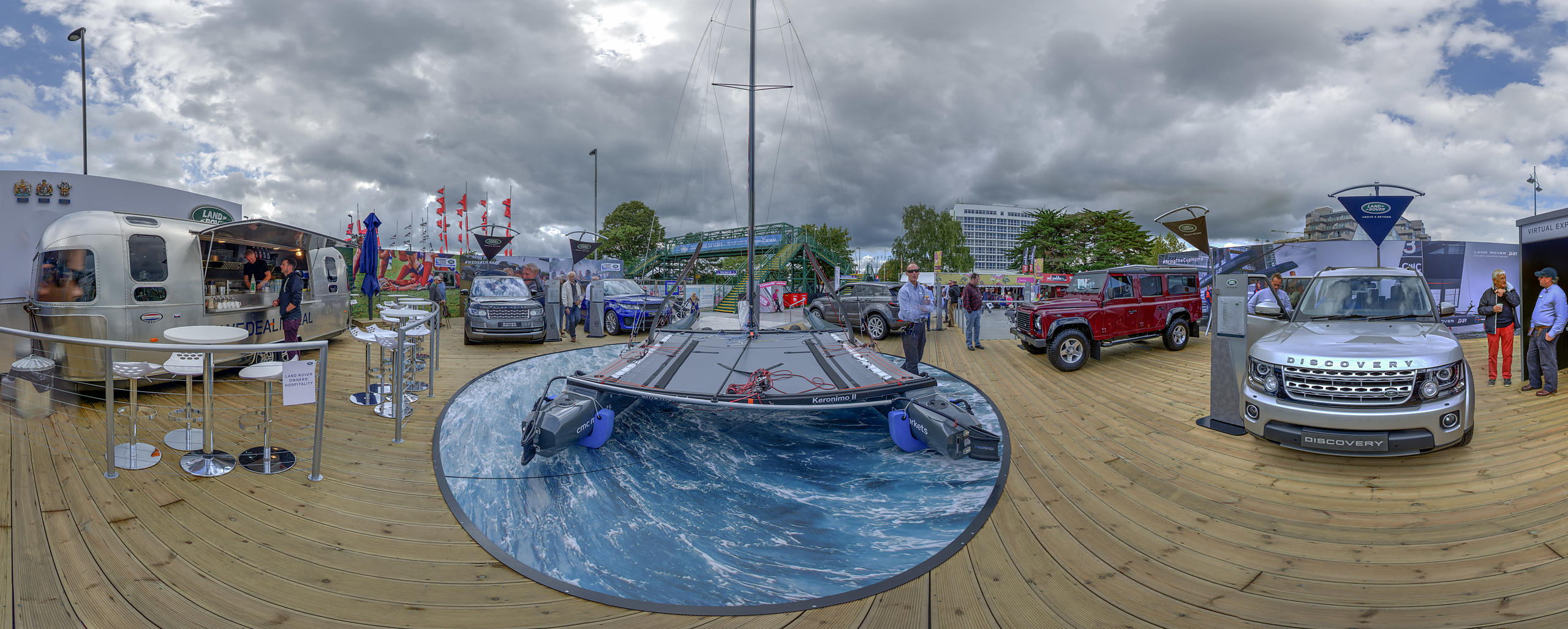 Panoramic View of Land Rover BAR Stand at the Southampton Boatshow, 2015