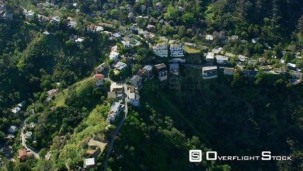 Red Epic Video residences in the Hollywood Hills Los Angeles California USA. Extremely rare view of the Hollywood Hills with lush green vegetation after winter rains!
