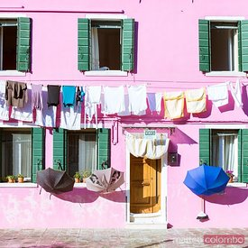 Clothes hanging out to dry in the streets, Burano, Venice, Italy