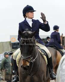 Kate Willett at the meet - The Cottesmore Hunt at Ranksboro, 26-11-13.