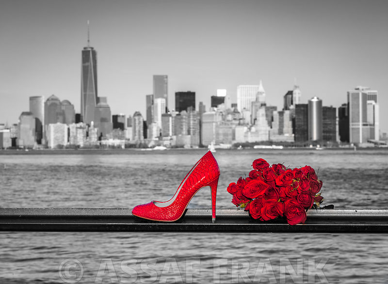 High heel shoe with bunch of roses against Lower manhattan skyline, New York