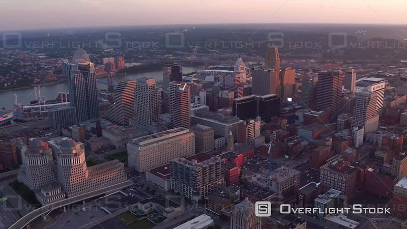 Aerial Footage of Cincinnati, Ohio at Sunset