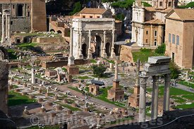 Overlooking the Forum from atop Palatine Hill, Rome, Italy; Landscape