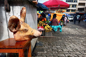 Pig's head in street market, Aymara woman in background, Coroico, North Yungas province, Bolivia