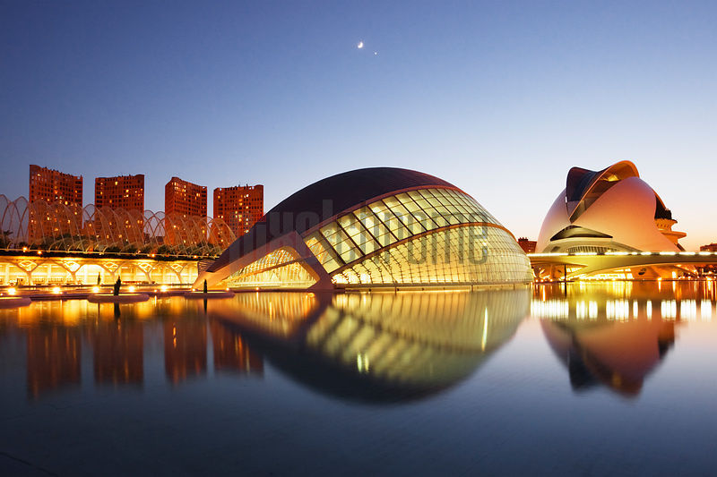 City of the Arts and Sciences by Santiago Calatrava Hemisferic (left) Palacio de las Artes (right) Valencia Spain