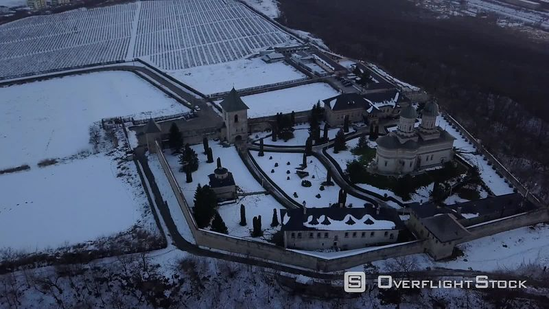Cetatuia Monastery, Filmed by Drone at Sunset in Winter, Moldavia, Romania