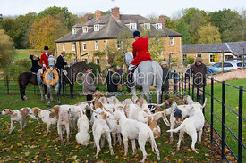 Huntsman and hounds at the meet - Cottesmore Hunt Opening Meet, 30/10/12