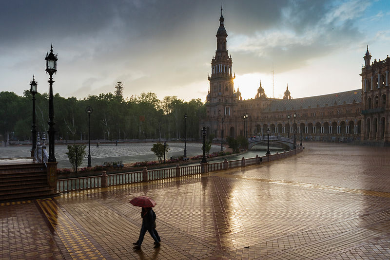 Rain Shower at Plaza de España at Sunset