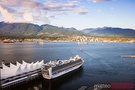 Vancouver harbour at sunset with cruise ship, Canada