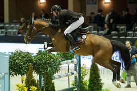 Bordeaux, France, 2.2.2018, Sport, Reitsport, Jumping International de Bordeaux - Bordeaux Young Sires Masters by SELLE FRANCAIS. Bild zeigt Francois Xavier BOUDANT (FRA) riding GFE Amant du Chateau (YH)...2/02/18, Bordeaux, France, Sport, Equestrian sport Jumping International de Bordeaux - Bordeaux Young Sires Masters by SELLE FRANCAIS. Image shows Francois Xavier BOUDANT (FRA) riding GFE Amant du Chateau (YH).