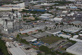 Manchester aerial photograph of  the Guinness Road Trading Estate on Trafford Park Estate