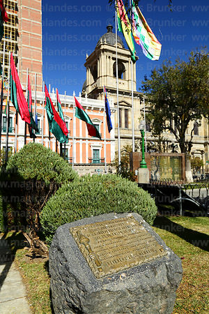 Plaque marking spot where Pedro Domingo Murillo and members of the Junta Tuitiva were hanged on 29 January 1810, Plaza Murillo, La Paz, Bolivia