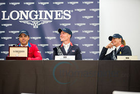 Kent Farrington (USA), William Whitaker (GBR)and Marie Hecart (FRA) press conference at the CSIO Barcelona on 10.10.2014, Longines Cup of the City of Barcelona, Club Real de Polo, Barcelona, Spain
