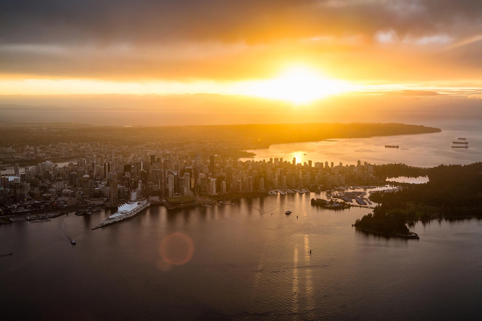 Sunset Over Downtown Vancouver and English Bay BC Canada by Edgar Bullon