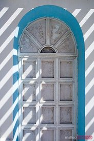Old wooden door in Santorini, Greece