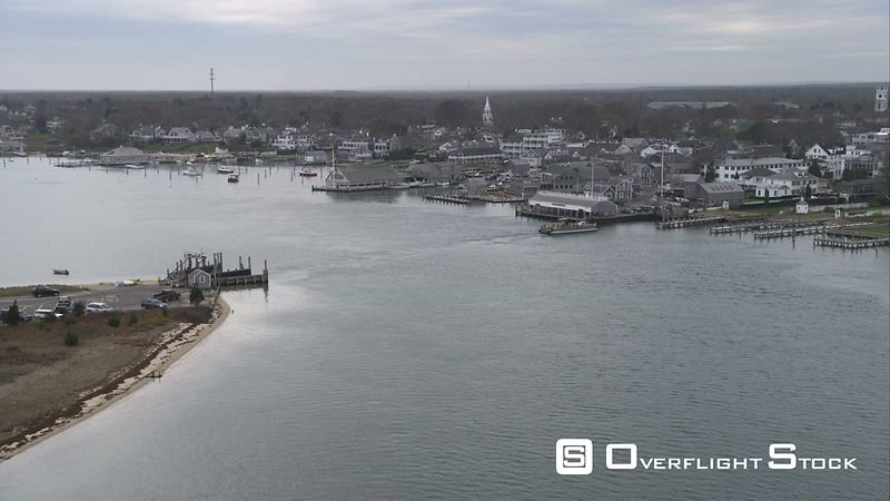 Approaching Edgartown, Massachusetts  Ferry Coming Into Slip at Terminal. Shot in November