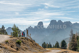 SCHLUDERBACH CARBONIN, ITALY - OCTOBER 26, 2018: Hiking area of the Fanes Sennes Prags Nature Park near Schluderbach Carbonin in the South Tyrol, Italy.