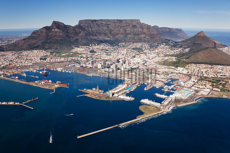 Aerial View of Cape Town and Table Mountain