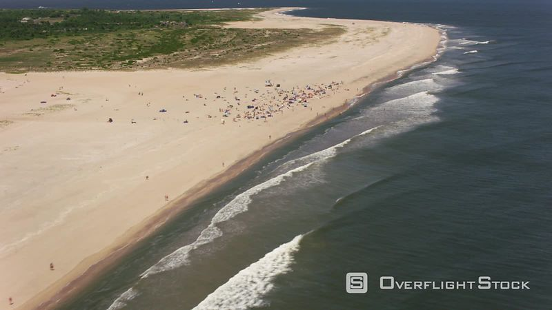 New Jersey Flying up Sandy Hook beach towards New York City.  Shot with Cineflex and RED EpicW Helium.