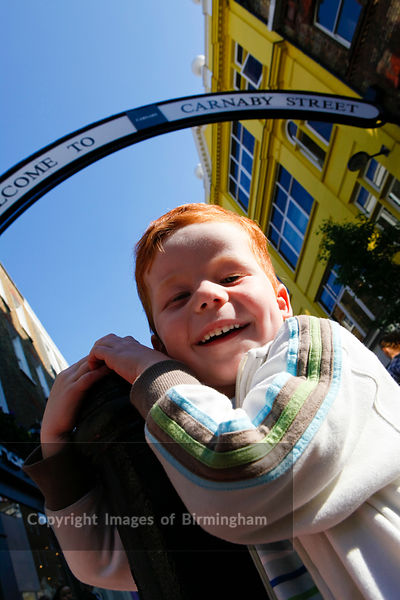 Young boy on Carnaby Street.
