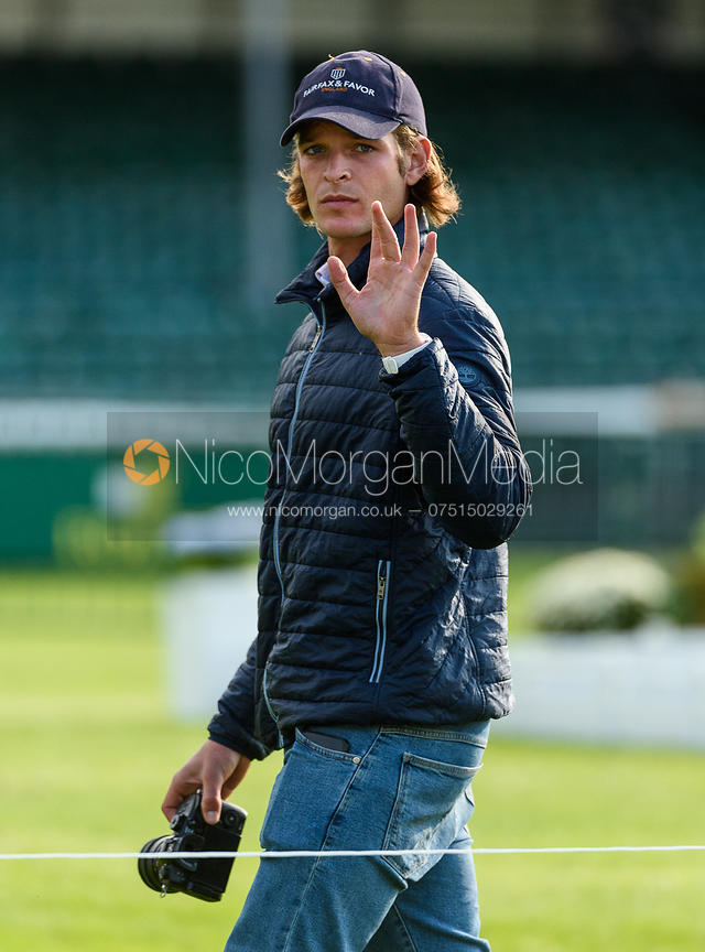 Charlie Aprahamian at the trot up, Land Rover Burghley Horse Trials 2018