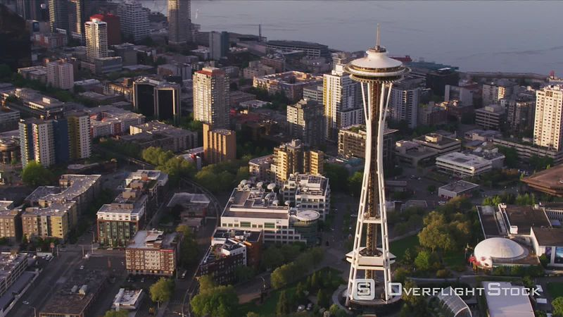 Seattle, Washington Aerial view of Space Needle in Seattle.  Shot with Cineflex and RED EpicW Helium.