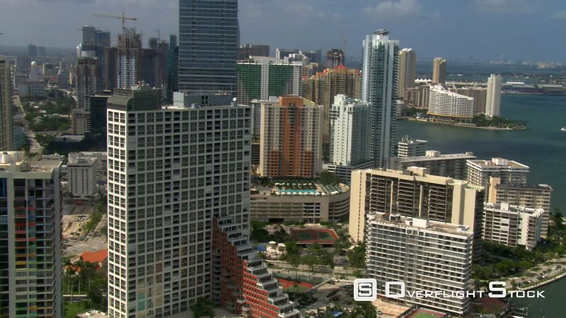 Aerial view of Miami skyscrapers