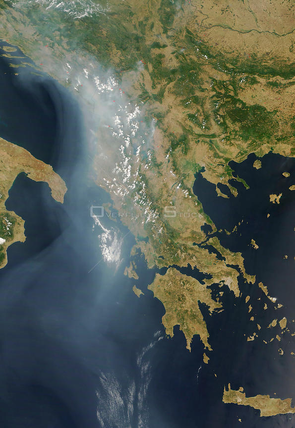 EARTH Greece -- 27 Jul 2007 -- This satellie image shows extensive forest fires on the Balkan Peninsula, mostly in Greece