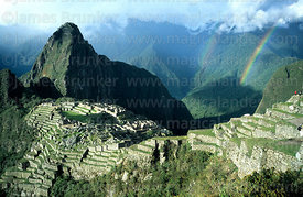Double rainbow over Urubamba Canyon and Machu Picchu, Peru