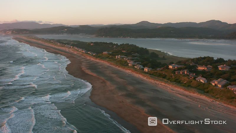 Oregon Coast Aerial shot of the Salishan Spit along the Oregon Coast.  Shot with Cineflex and RED EpicW Helium.