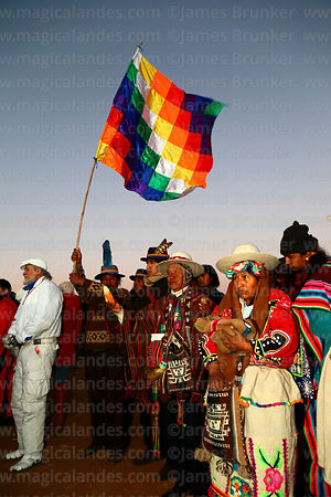 Aymara leaders waiting for sunrise during Aymara New Year celebrations, Tiwanaku, Bolivia