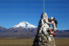 Mountaineering monument and Pomerape volcano, Sajama National Park, Bolivia