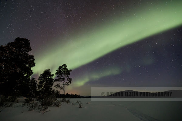 Northern Lights on Ukonjärvi lake near Ivalo in Finnish Lapland