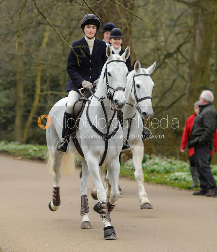 Lady Alice Manners arriving at the meet - The South Shropshire and Belvoir Hunts at Belvoir Castle 11/3/17