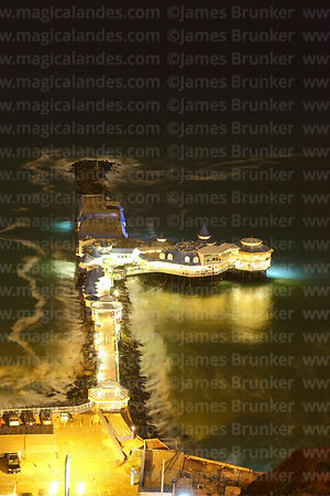 View of Rosa Nautica restaurant and pier at night, Miraflores, Lima, Peru