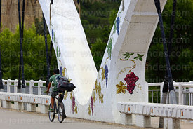 Grape mural and cyclist crossing Puente Peregrino / Pilgrim Bridge, Tarija, Bolivia