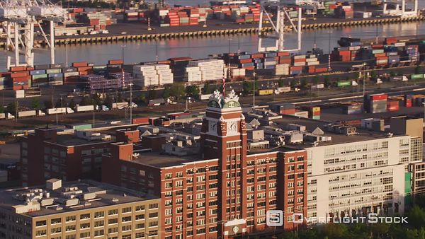 Seattle, Washington Aerial view of Starbucks Coffee Corporate Headquarters.  Shot with Cineflex and RED EpicW Helium.