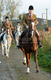 Ian Hendrie leaving the meet - The Cottesmore Hunt at the kennels 21/10