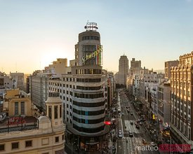Gran Via and city at sunset, Madrid, Spain