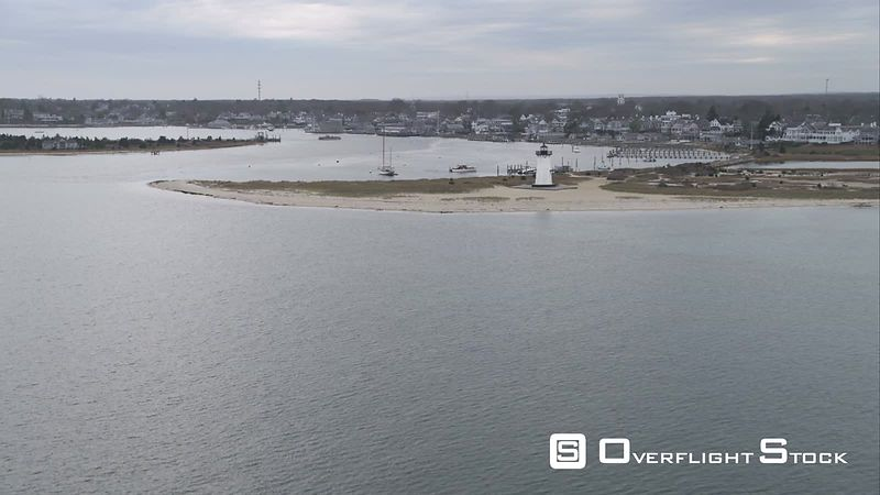 Approaching Edgartown, Massachusetts  Lighthouse and Harbor in Foreground. Shot in November