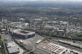 Manchester aerial photograph looking from Trafford Park in towards Trafford Town Hall and Lancashire County Cricket Stadium