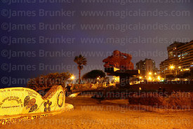 """El Beso"" sculpture in Parque del Amor / Park of Love at sunset, Miraflores, Lima, Peru"