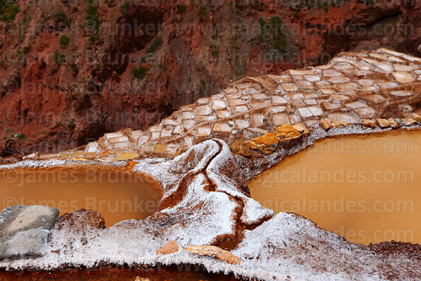 Channels between salt evaporation ponds and terraces at Las Salineras to Urubamba Valley, Maras, near Cusco, Peru
