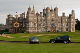 Land Rovers parked in front of Burghley House - Burghley Horse trials 2011